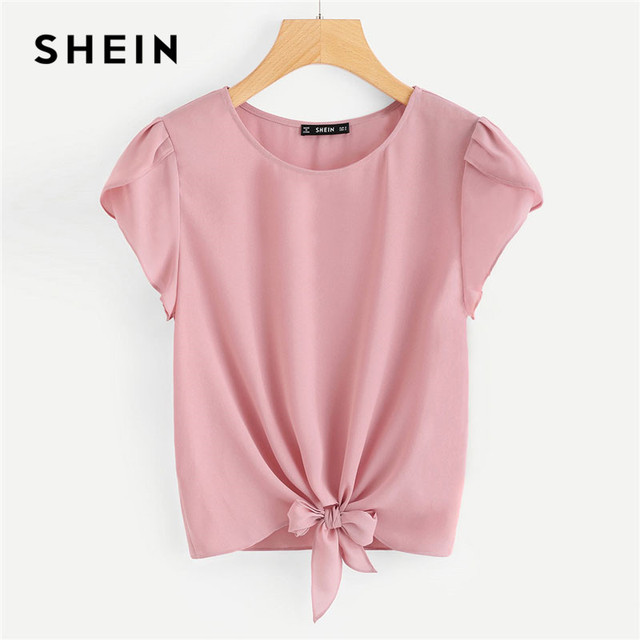4707074db861 SHEIN Pink Petal Sleeve Knot Front Top Women Round Neck Short Sleeve Casual  Blouse 2018 Summer