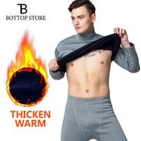 Hot Men Thermal Underwear Mens Winter Warm Shirt+Warm Long Underpants 2 Piece Set Man Tights Long Johns Male Thick Plus Velvet