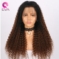 Eva Hair Curly Lace Front Human Hair Wigs 150% Density Brazilian Virgin Hair Pre Plucked With Baby Hair 13x6 Deep Part Lace Wigs