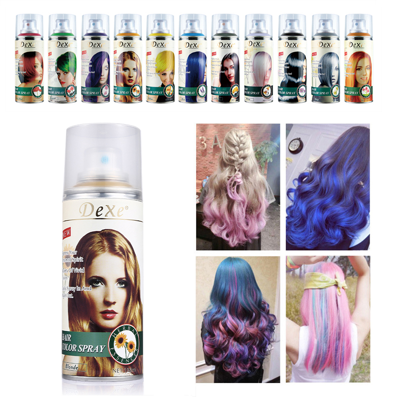 Professional 138ml Dexe Hair Color Spray Disposable Temporary Hair Dye Colorful