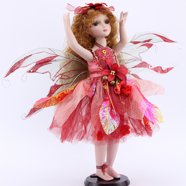 Sonho vermelho traje Da Princesa boneca de porcelana retro Flower Fairy Elf menina presentes mobiliário doméstico