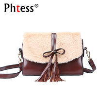 2018 Women Messenger Bags For Girls Samll Leather Shoulder Bag Fur Female Sac A Main Tassel