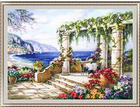 Hot 2017 diy kit de pintura do ponto da cruz needlework set kits de fita bordados pinturas de paisagem & jardim floral para o bordado