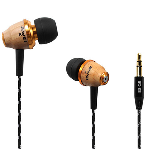 Awei Q5 Wooden Earphone 3.5mm Fashion Nice Gift for MP3 MP4 Mobile Phone awei stylish earphone for cell phone mp3 mp4 white 3 5mm jack