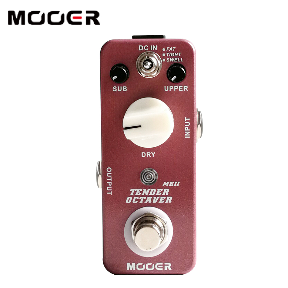 MOOER Tender Octaver MK II Precise Octave pedal True Bypass switching Guitar pedal mooer tender octaver mk ii true analog dry through signal guitar effects pedal with 3 brand new algorithms guitar accessories