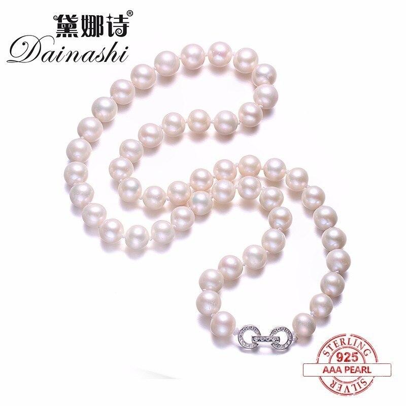 Erstaunlich Preis Elegante Runde Halskette, Hochwertige Natürliche Süßwasser Perlenkette Für Frauen Feine Perle & Silber Schmuck