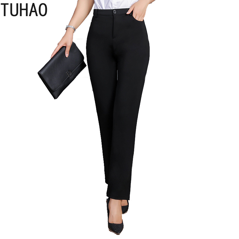 TUHAO Large Size 9xl 8xl 7xl Women Office Lady Black Pants Summer Thin Elegant High Quality Trousers Pant Female 6XL Capris YBFS