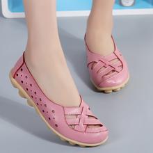 Oryginalne skórzane buty damskie Plus Size płaskie buty miękkie skórzane mokasyny damskie mieszkania na balet buty pielęgniarskie Casual Chaussures Femme tanie tanio Dla dorosłych Wiosna jesień Skóra Split Pasuje prawda na wymiar weź swój normalny rozmiar Podstawowe Na co dzień