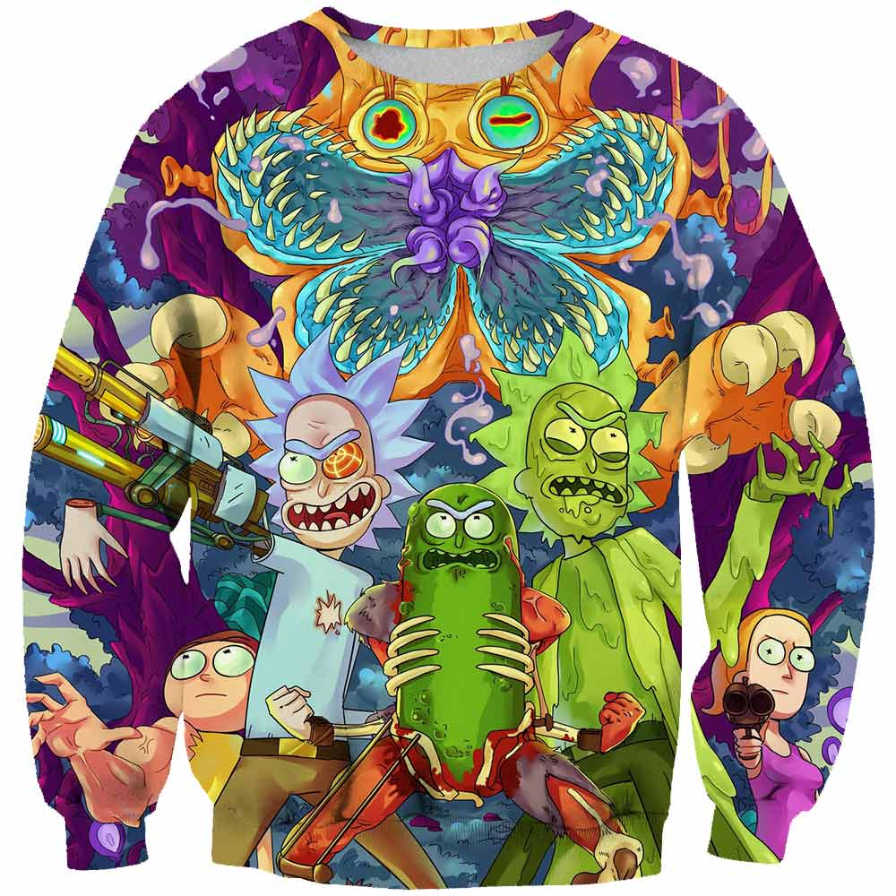 2019 New Custom 3D Sweatshirts Hip Hop Men/Women Hat Funny Print Rick Morty Crazy Scientist Winter Loose Thin Hoodies Tops