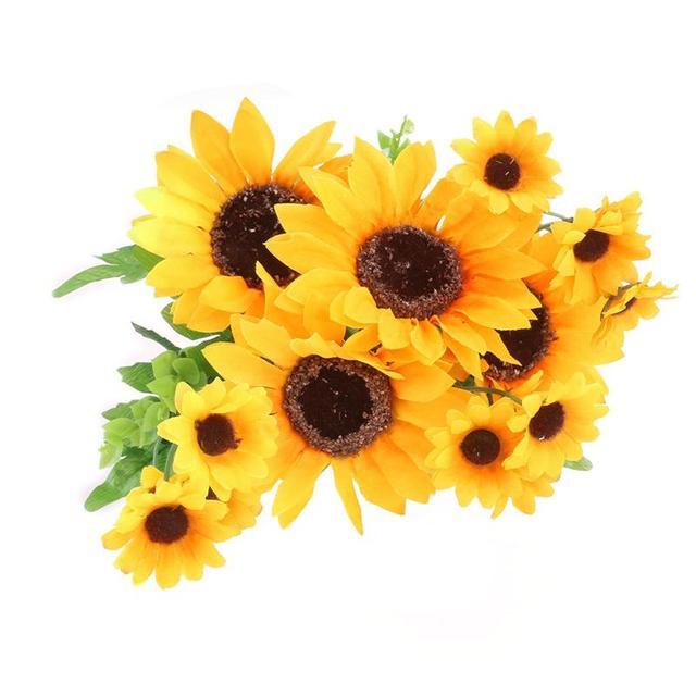 Kepala Simulasi Bunga Buatan Sutra Bunga Matahari Indah Dengan Daun