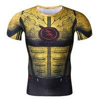 Cosplay Costume Reverse Flash Superhero 3D Printed T Shirt Men's Short Sleeve Compression Shirt Raglan Clothing M 1