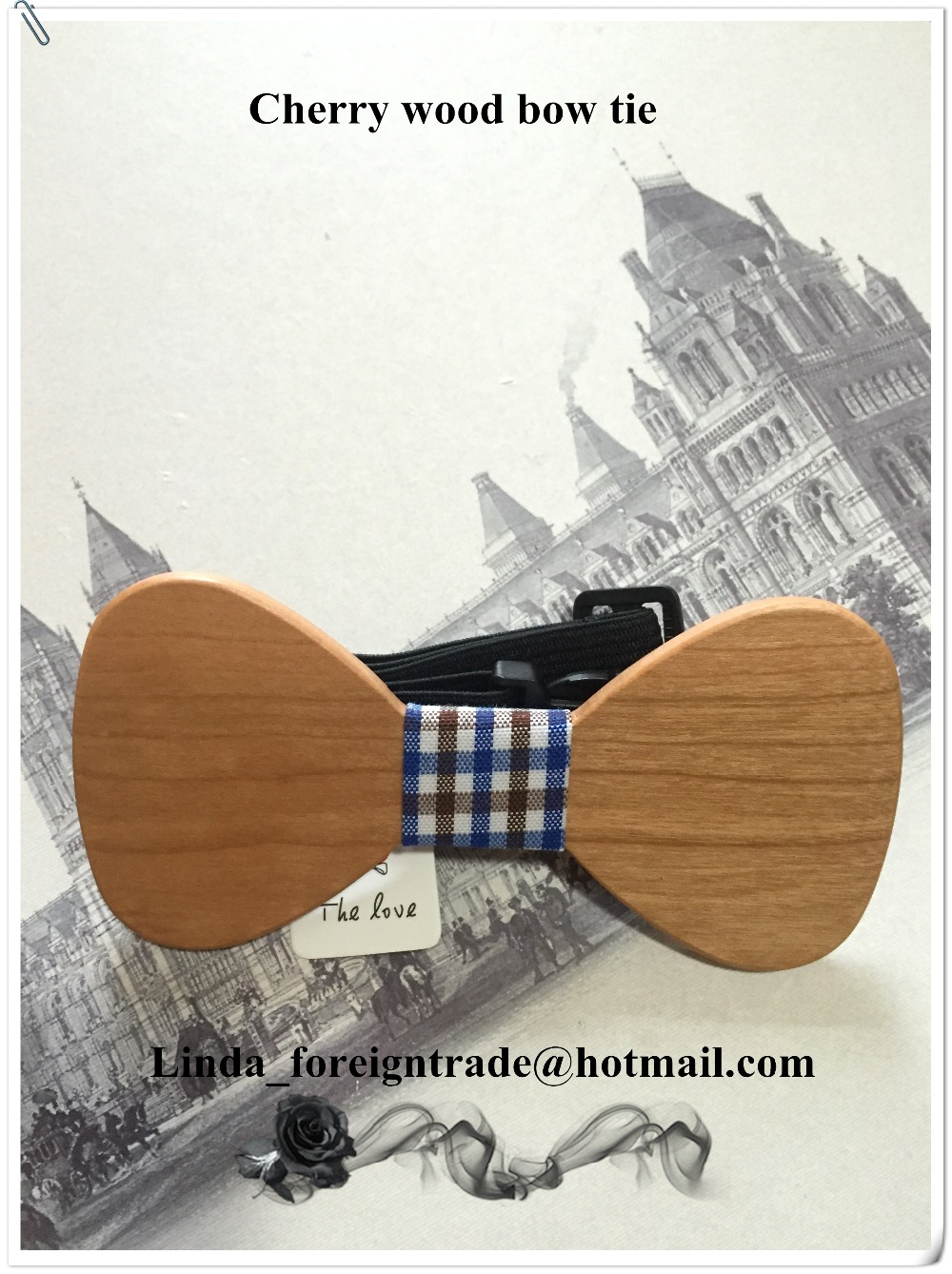 Free Shipping Beech wood bow tie with yarn dyed jacquard fabric, 100% hand made bow tie Christmas gifts