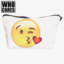 Emoji kiss 3D printing makeup bag Cosmetic Cases necessaire women 2017 pouch neceser para mujer trousse de toilette pencil case