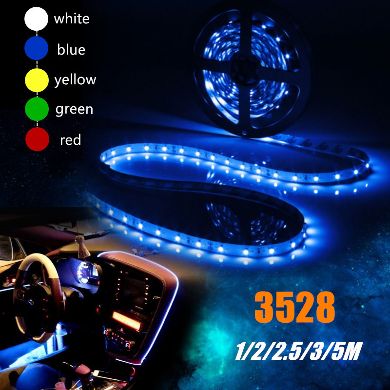 1/2/2.5/3/5M 3528 SMD LED Flexible Strip Lights RGB LED Tape Cigarette Charger Auto Car Atmosphere Lamp 12V/24V