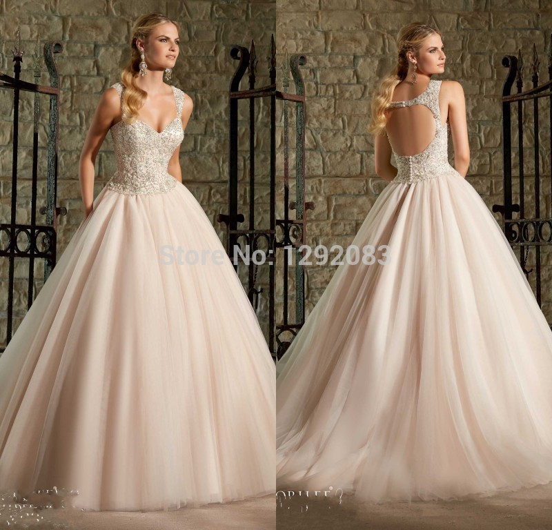 Hotperfect Combination Backless Cap Sleeves Light Pink Ball Gown Bridal With Beaded Bodice Organza Wedding Dresses 2017 In From