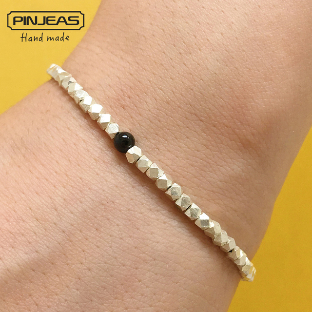 Pinjeas Charm Bracelet Beads Tourmaline High Quality Handmade Braiding Stackable Refinement Gift For Women