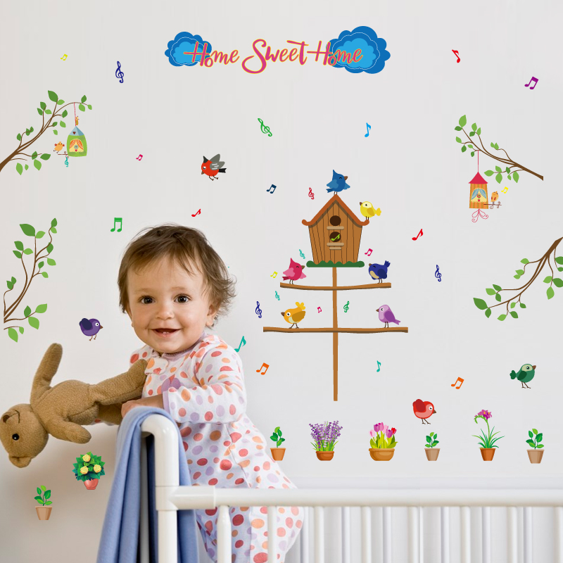 SK7081 Children s room self - adhesive cartoon wall stickers children kindergarten baby bird home decoration