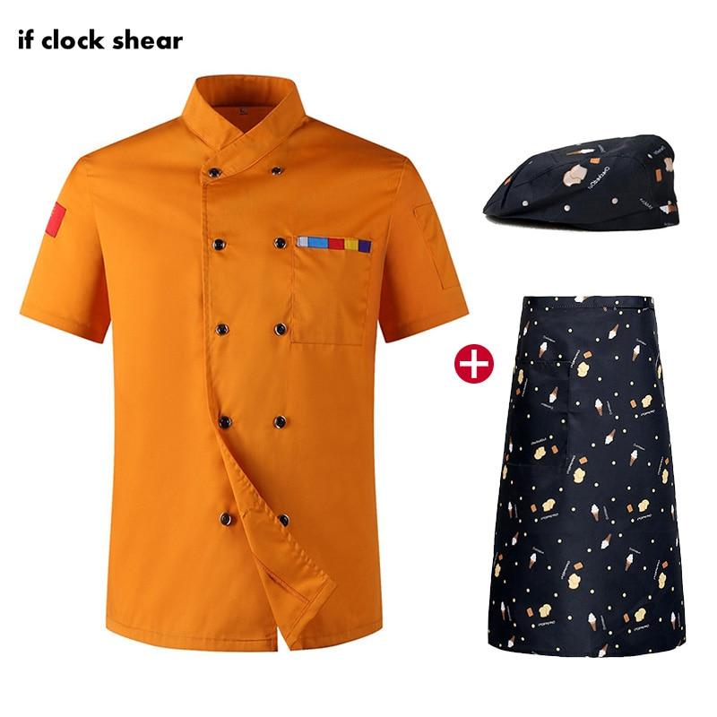 Catering Work Clothes Men Chef Restaurant Uniforms Unisex Breathable Short Sleeve Hotel Kitchen Chef Jackets Hat Apron Shirt Men