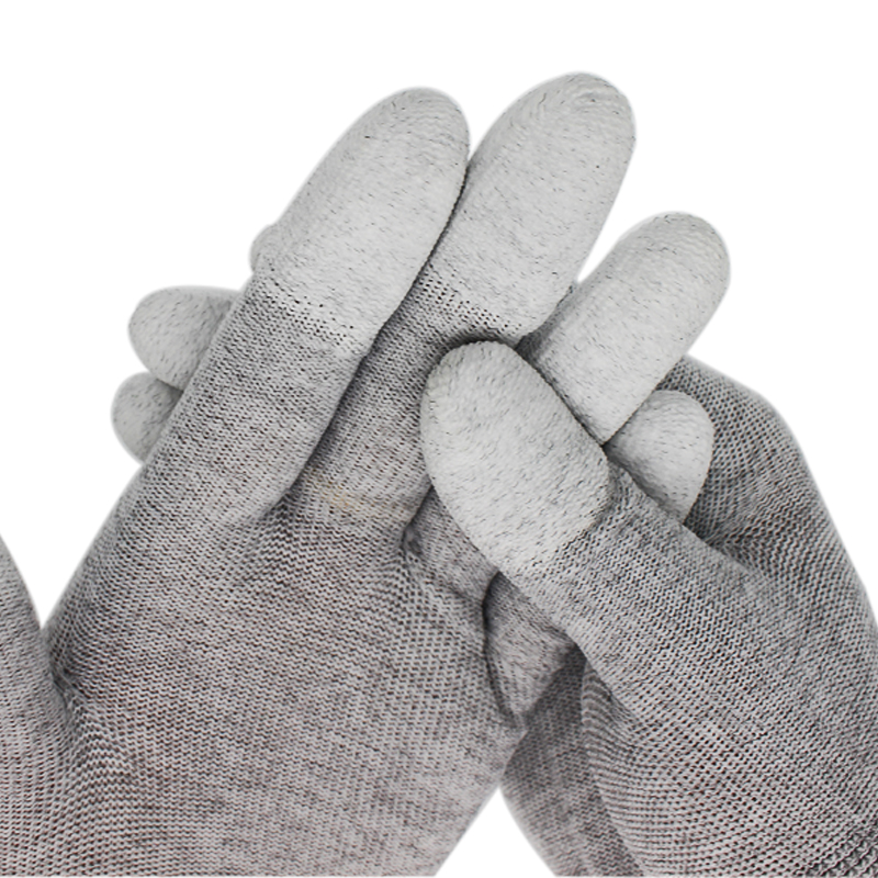 1 Pair Gray Nylon Anti-static-Slip Cleaning Gloves PU Coated Grey Working Gloves Size S M L ESD Glove Full Finger Cut-Resistant