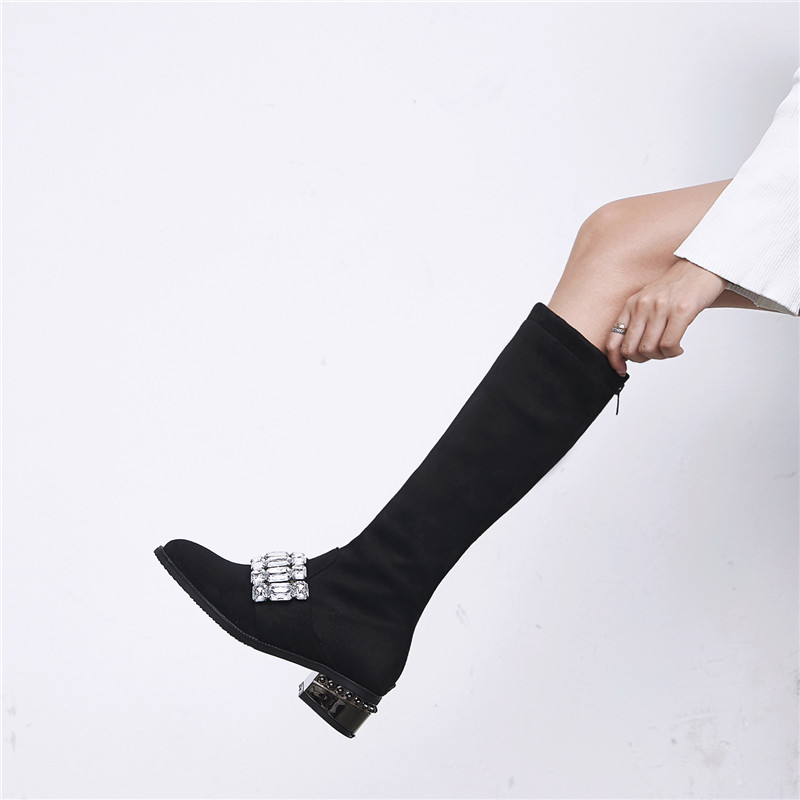 Morazora Rond Offre Bout Taille Genou Bottes 33 2018 Grande Confortable Mode Femme De Femmes Troupeau Automne Spéciale Haute Hiver Chaussures Noir 48 rZ0nrq5