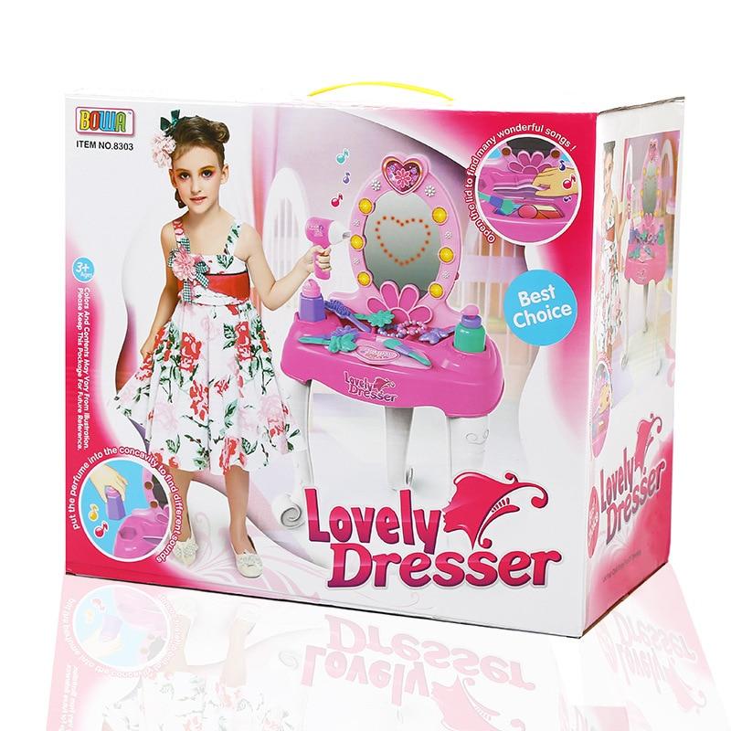 jouer a faire semblant enfants vanite coiffeuse coffret en plastique jouets ensemble de meubles pour les filles avec sound light cadeaux dans meubles jouets