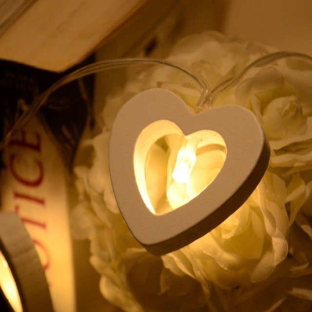 Wooden Heart String Lights