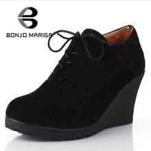 BONJOMARISA Brand High Heel Wedges Shoes Platform Pumps Women Lace up Casual Shoes Sexy Women Shoes