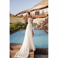 HSDYQHOME In Sotck Halter Lace Top Sexy Backless Beach Prom Dresses Cheap Beading Waist Split Evening Gown Long Dresses
