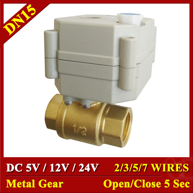 Metal Gear High Quality Motorized Valves TF15-B2 Series Brass DN15 1/2 DC5V 12V 24V 2 Way Electric Fast Closed Valve