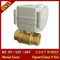 Metal Gear High Quality Motorized Valves TF15 B2 Series Brass DN15 1/2 DC5V 12V 24V 2 Way Electric Valves Fast Closed Valve