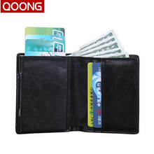 QOONG Automatic Pop Up ID Credit Card Holder Hand Push Men Women Business Safe Aluminum Antimagnetic Purse Case KH1-034
