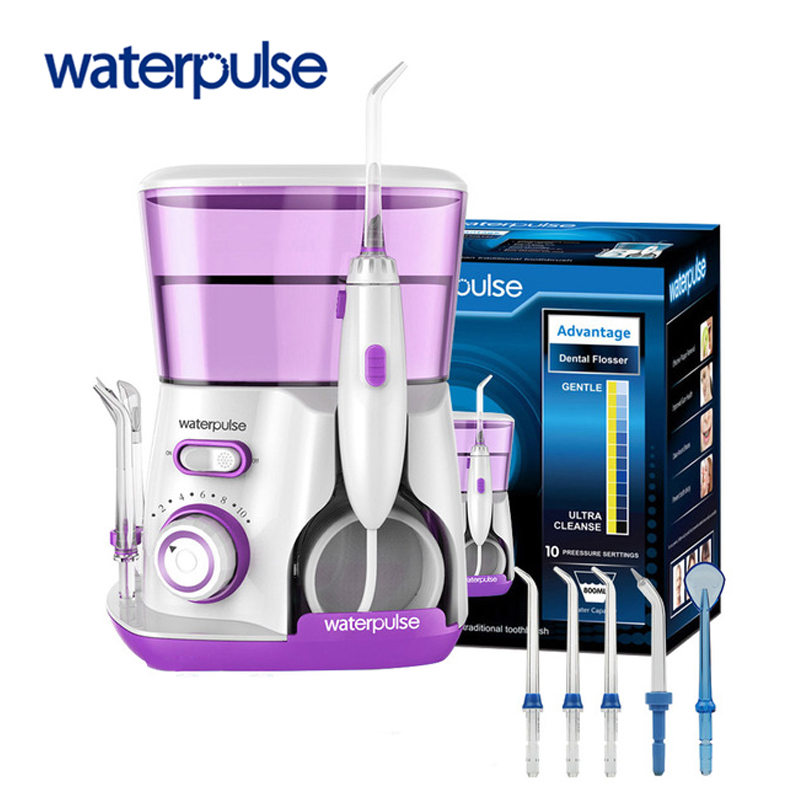 Waterpulse Dental Flosser V300 Oral Irrigator 800ml Dental Irrigator Water Jet Powerful Flosser or 5PC Replacement Nozzles Tips