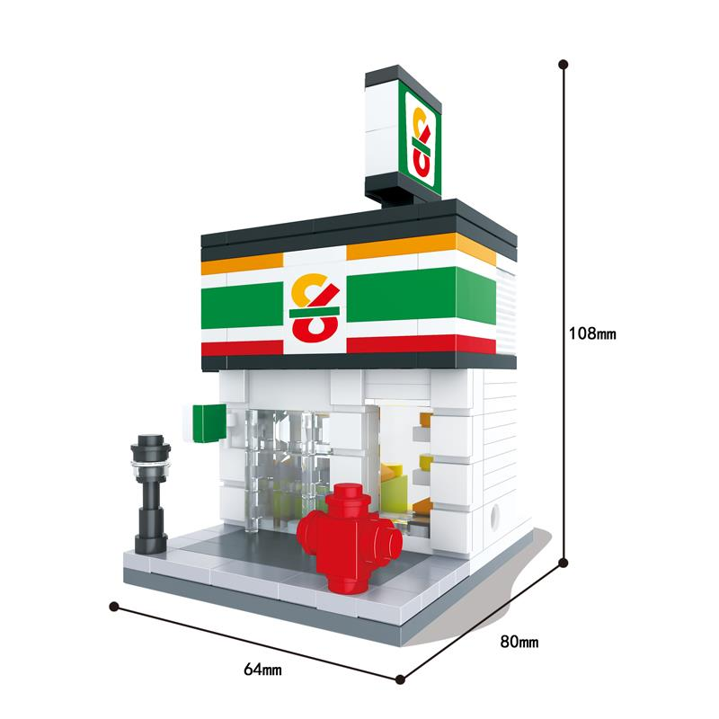 Building Blocks Mini Street Model Shop City Store 3D Model Brick Kids  Figure Toys Compatible With Legoe Toys For Children