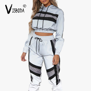 Image 2 - Womens Tracksuits 2 Piece Set Reflection Crop Top And Pants Fashion Female Loose Long Sleeve Hoodies Jogger Pants Sets Femme