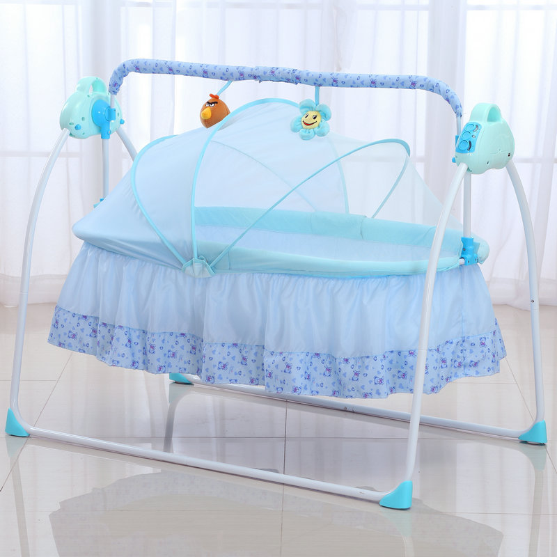 Smart Electric Baby Cradle Infant Rocking Crib With Music Portable Foldable Safe Newborn Baby Sleeping Bed With Mosquito Nets fashion electric baby crib baby cradle with mosquito nets multifunctional music baby cradle bed