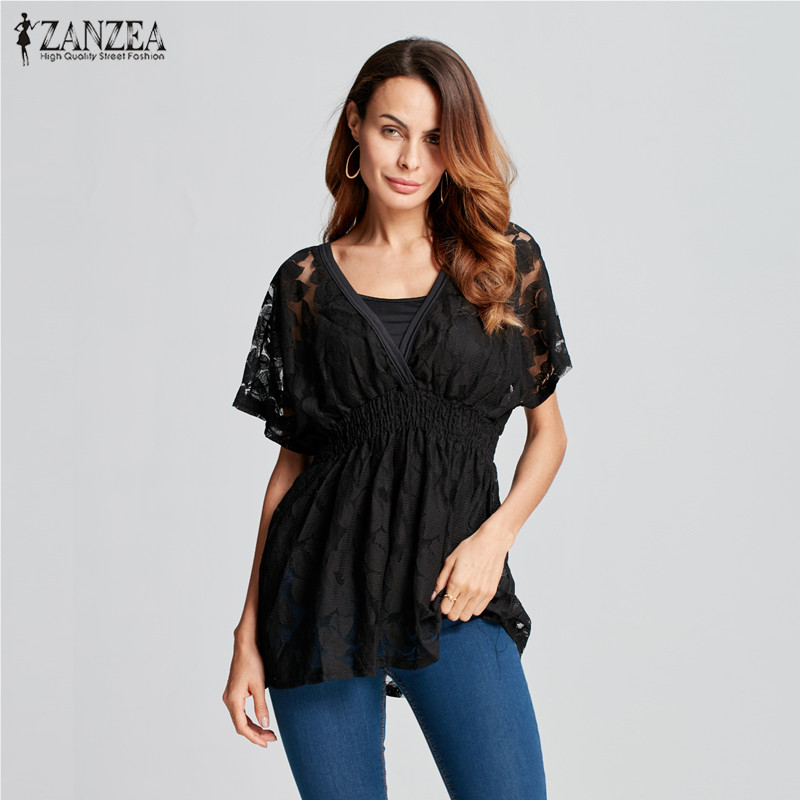 ZANZEA Women Sexy Blouses Shirts 2018 Ladies Short Sleeve V Neck Floral Lace Two Pieces Outwear Vest Casual Stretchy Blusas Tops