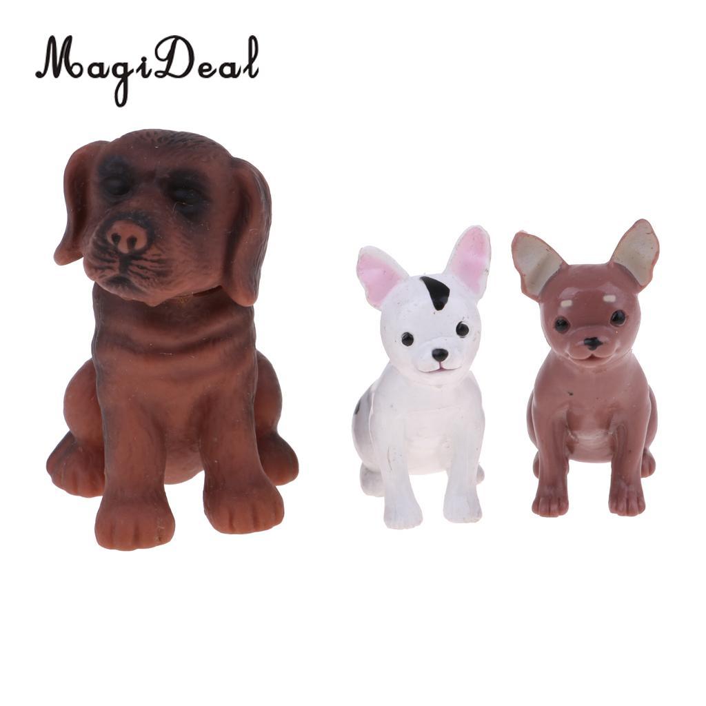 Dollhouse Pets Figurines Miniature Dog Toy /& Doghouse for Fairy Garden Decor