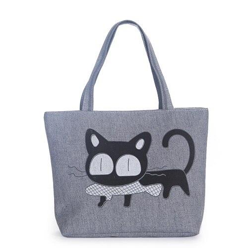New Fashion Women Canvas Handbag Character Cat Printed Shoulder Handbag Female L