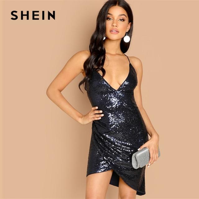 dcd88989 SHEIN Navy Spaghetti Strap Plunging Neck Wrap Sequin Cami Short Slip Slim  Bodycon Dress Autumn Women Solid Arabian Dresses