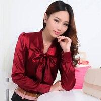 Korean Fashion Women OL Work Office Satin Chiffon Blouse Elegant Lace Up Bow Tie Collar Long