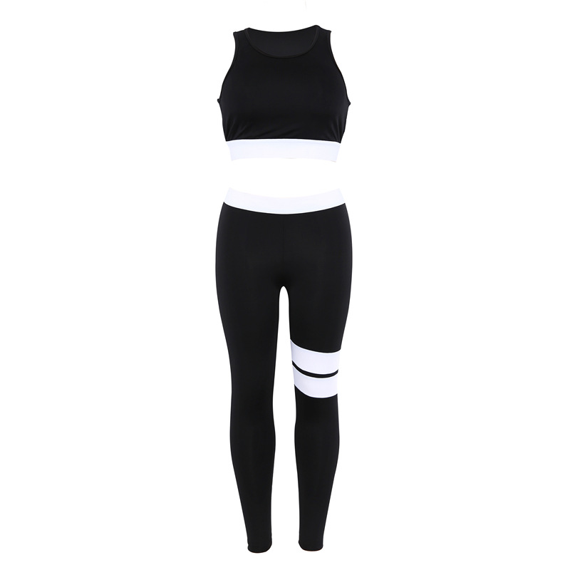 Women Tracksuit Solid Yoga Set Patchwork Running Fitness Jogging T-shirt Leggings Sports Suit Gym Sportswear Workout Clothes S-L 26