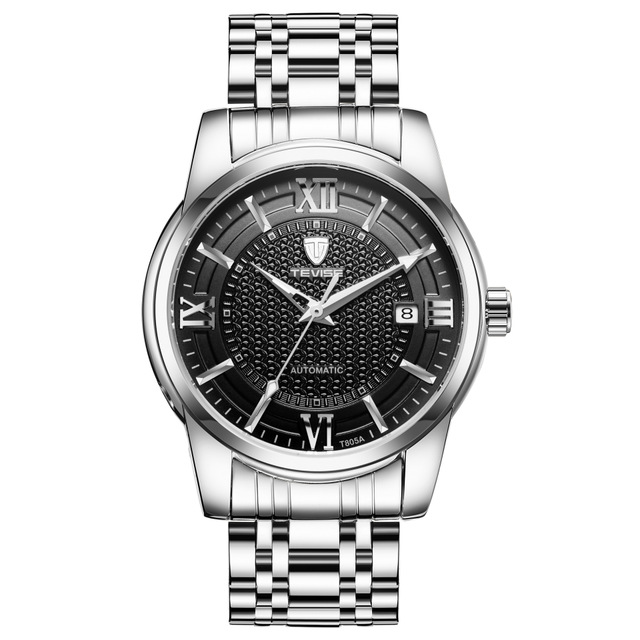 TEVISE Men Automatic Mechanical Luminous Stainless Steel Black Dial Simple Business Watch triple dial hour second week display automatic mechanical watch for men tevise 356