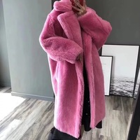 2018 New female long coat teddy coat faux fur coat leopard print womens plus size fashions pink fur coat