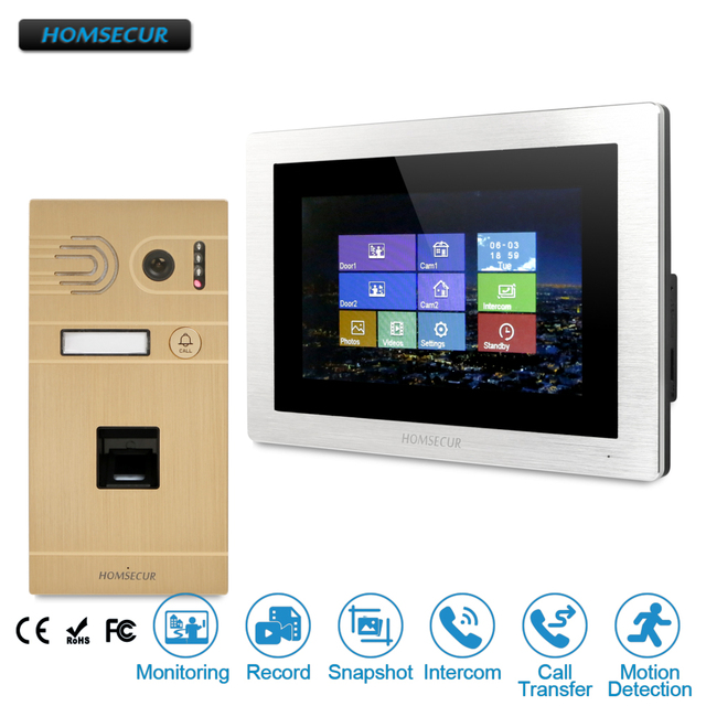 "HOMSECUR 7"" Wired Hands-free Video&Audio Home Intercom With Touch Screen Monitor+Golden Fingerprint   BC061-G + BM714-S"