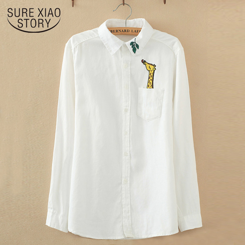 2020 new Cotton Casual Blouse Female Turn-down Collar Long-sleeve White Tops Women Embroidery Giraffe Leaves Shirt female 614J17