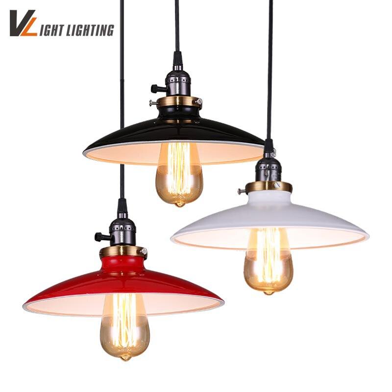 Vintage Pendant Light Antique White/black/red Metal Shade Lighting Fixtures  Hanglamp Lustre Lamparas Colgantes For Restaurant