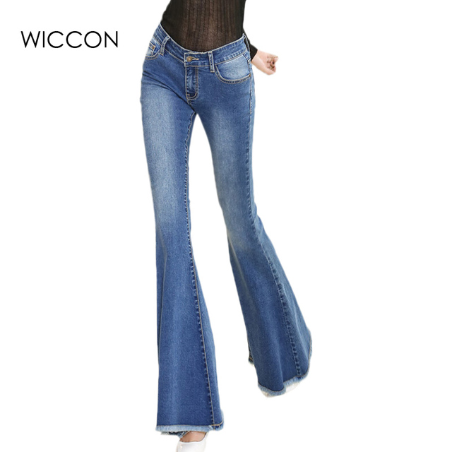 0ae3819c1 2018 New Mom Jeans Flare Pants Jeans Woman Ladies Denim Female Wide Leg Pants  Jeans spring autumn pants trousers WICCON