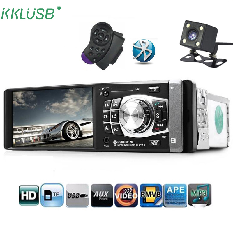 4.1Car Radio Stereo Single Din MP5 Audio Video Player//Steering Wheel Control Rear View Camera Support MP3//MP5//USB//AUX//FM//EQ//SD Card with Remote Control