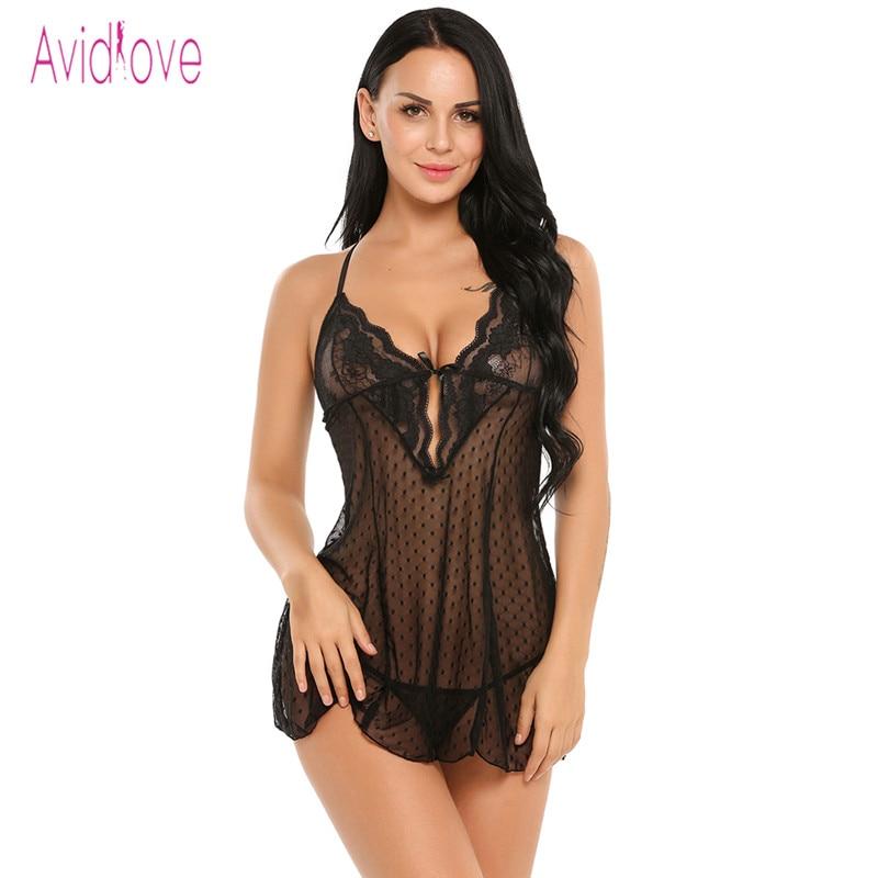 Avidlove Lingerie Sexy Erotic Hot BodyDoll Dress Women Sexy Nightwear See Through Lace  Sleepwear Erotica Adult Sex Products