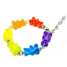 2019 New Colorful Cute Handmade Cartoon Bear Bracelet Lovely Candy Color Animal Bangle for Women Girl Funny Jewelry Party Gift(China)